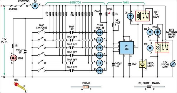 Strange Simple 6 Input Alarm Circuit Diagram Wiring 101 Photwellnesstrialsorg