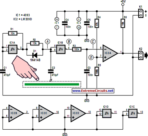 simple capacitive touch sensor circuit diagram rh learningelectronics net  capacitive water level sensor circuit diagram