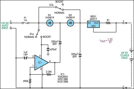Simple Battery Charger Circuit Charges 13 on current doubler circuit diagram