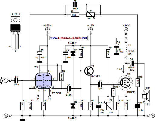 simple hybrid audio amplifier circuit diagram