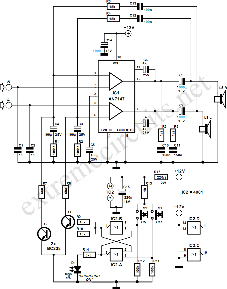 5 3w amplifier with surround system circuit diagram