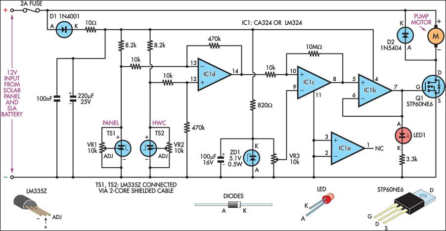 solar hot water panel differential pump controller circuit diagram rh learningelectronics net Solar Power System Wiring Diagram Solar Electric Installation Wiring Diagram