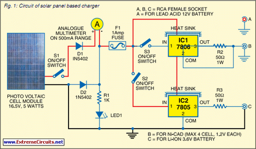 Solar Wiring Diagram Pdf : Solar panel based charger and small led lamp circuit diagram