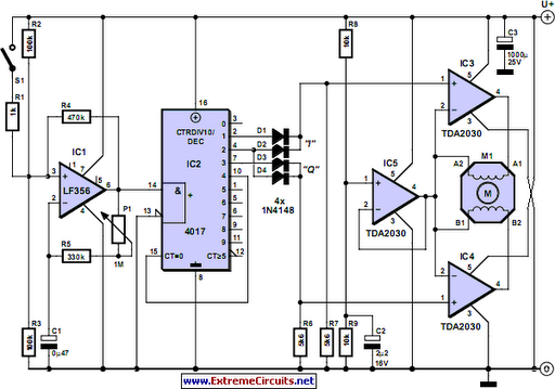 Stepper motor controller circuit diagram Step motor driver circuit