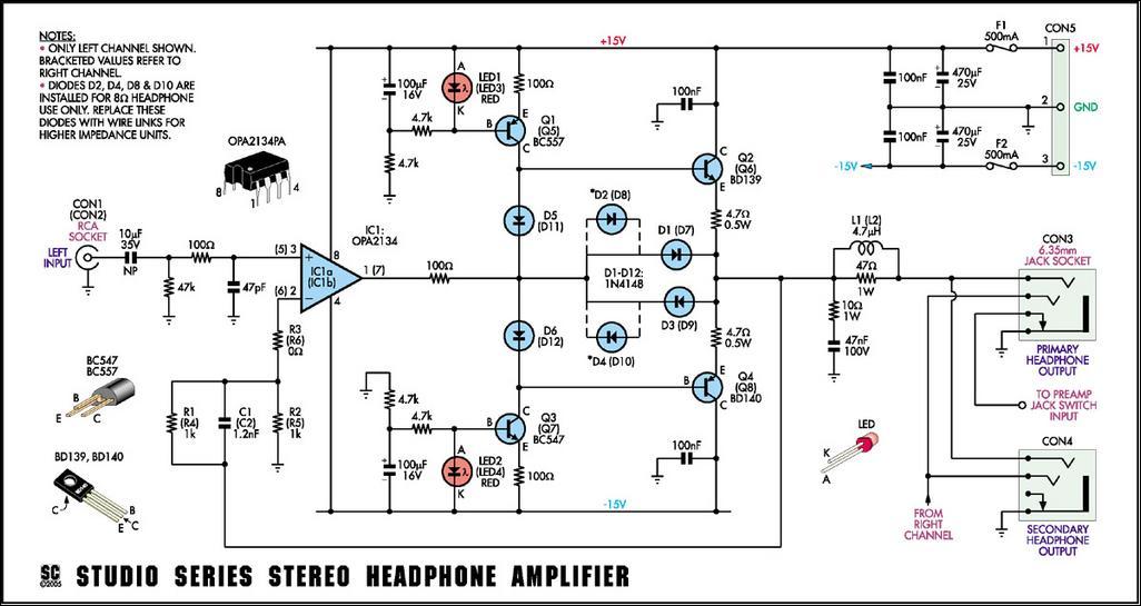 studio series stereo headphone amplifier circuit diagram