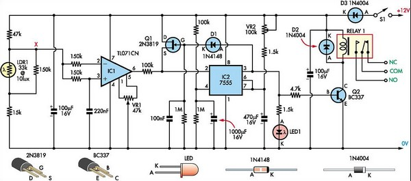 super light sensor circuit diagram rh learningelectronics net light detector circuit using 555 timer light detector circuit with nand gate