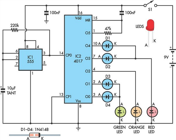 traffic lights for model cars or model railways circuit diagram rh learningelectronics net karnaugh diagram traffic light karnaugh diagram traffic light