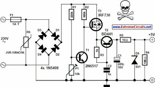 transformerless 5 volt power supply circuit diagram
