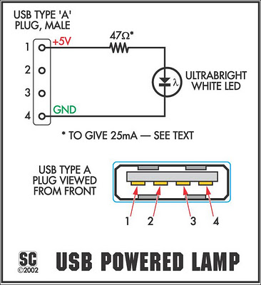 the itsy bitsy usb lamp circuit diagram rh learningelectronics net usb port schematic diagram usb 3.0 port diagram