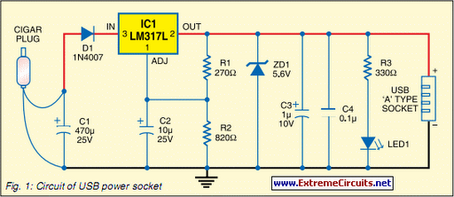 Usb Power Supply Wiring Diagram : Usb power socket with indicator circuit diagram
