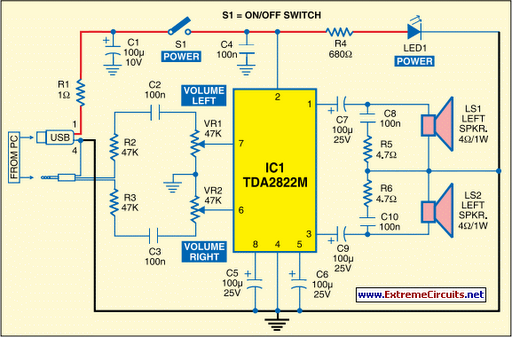 usb powered audio power amplifier circuit diagram - usb audio amplifier  circuit diagram