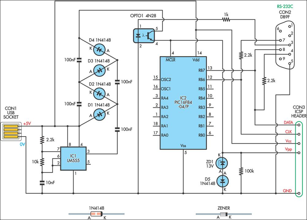 USB-Powered PIC Programmer Circuit Diagram