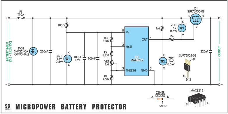 Versatile Micropower Battery Protector on car battery tester circuit diagram