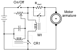 00554x01 png the relay labeled m1 is a large contactor designed to shunt the motor s current around the start up resistor it requires at least a few amps of current